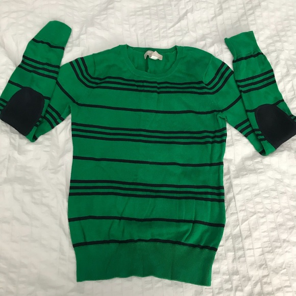 BR green striped sweater